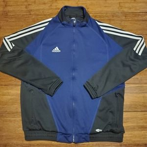 Adidas Men's Navy Blue and Black Track Jacket